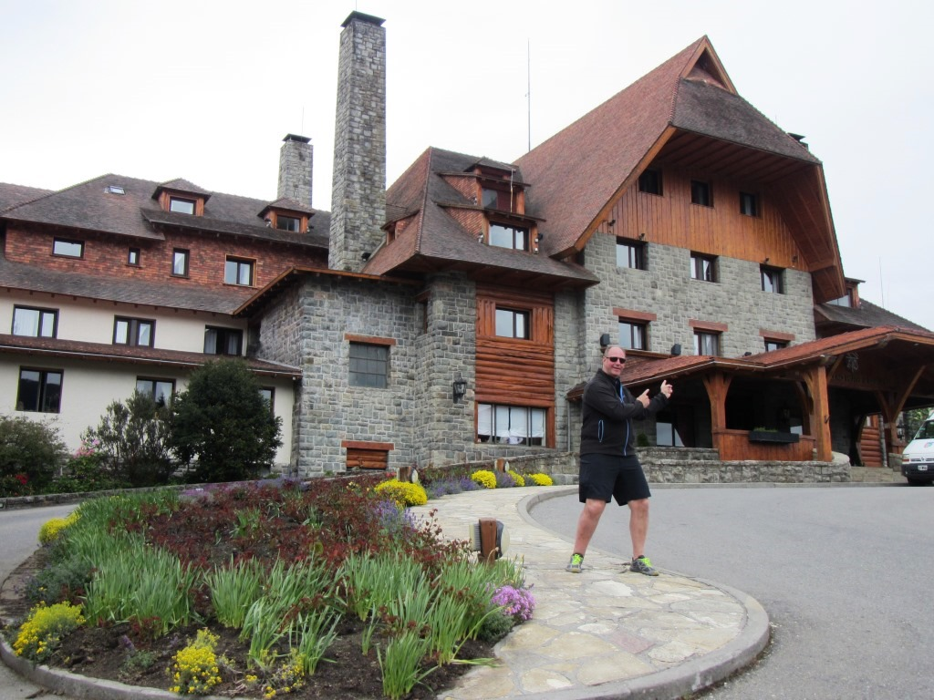 Cliff standing in front of the Llao Llao hotel in Bariloche.