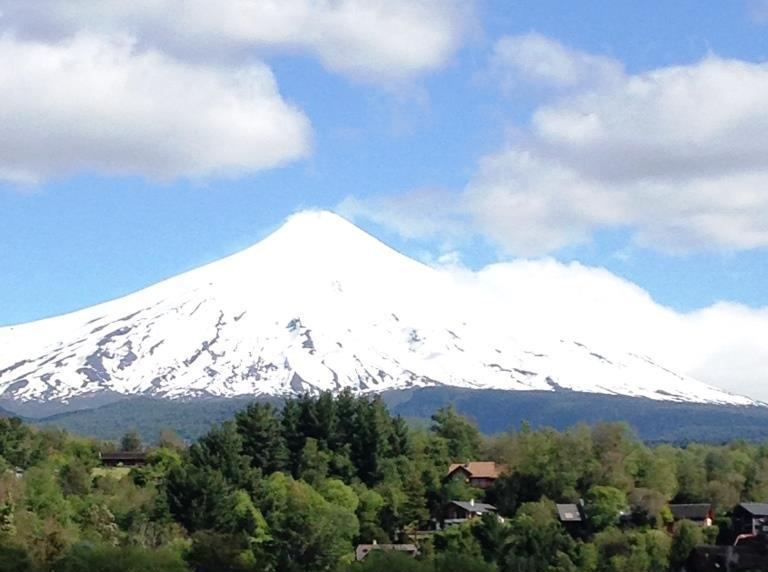 A view of the volcano taken by Tom Elliott, at the edge of the lake.